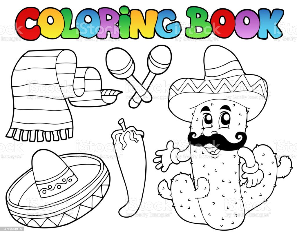 Coloring book with Mexican theme 2 royalty-free stock vector art