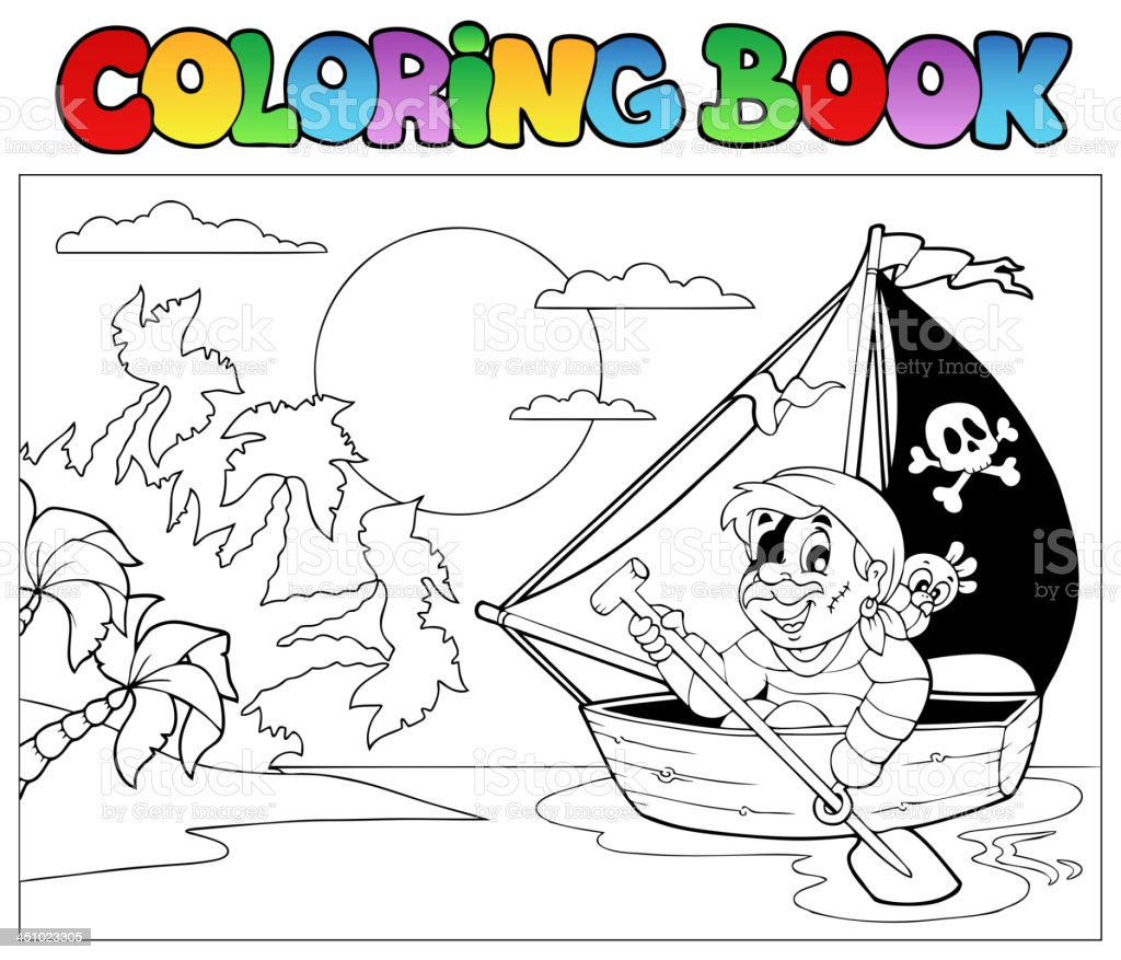 Coloring book with pirate in boat royalty-free stock vector art