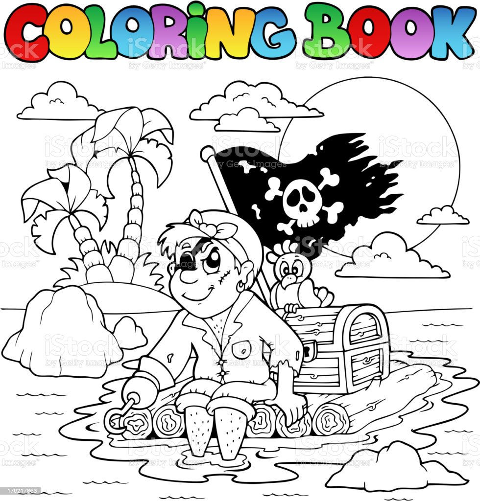 Coloring book with pirate topic 2 royalty-free stock vector art