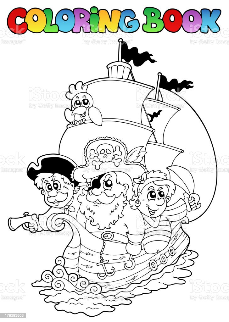 Coloring book with pirates 2 royalty-free stock vector art