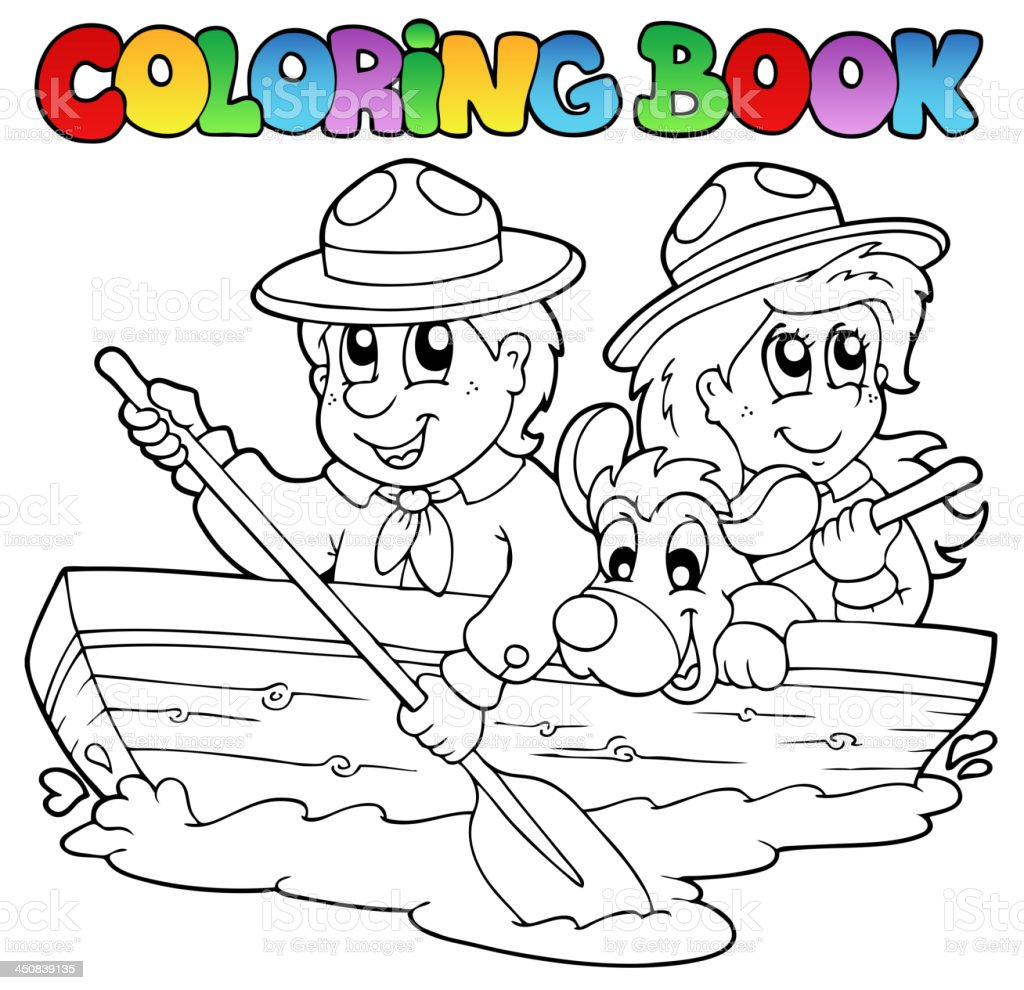 Coloring book with scouts in boat royalty-free stock vector art
