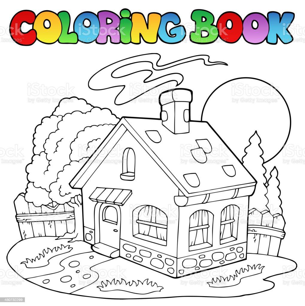 Coloring book with small house royalty-free stock vector art