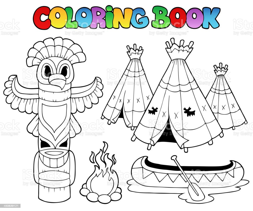 Coloring book with totem royalty-free stock vector art