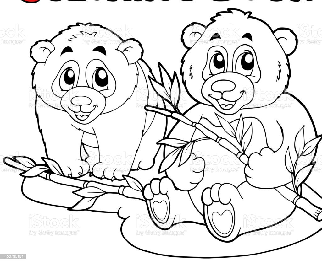 Coloring book with two pandas royalty-free stock vector art