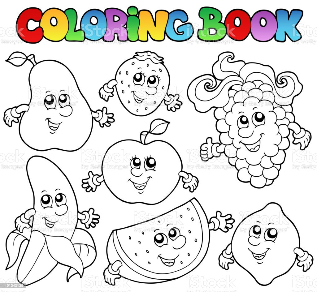 Coloring book with various fruits royalty-free stock vector art