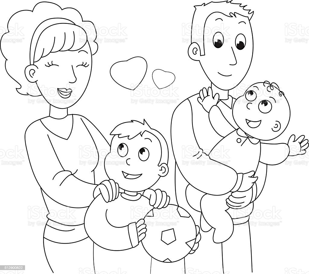 Coloring family vector vector art illustration