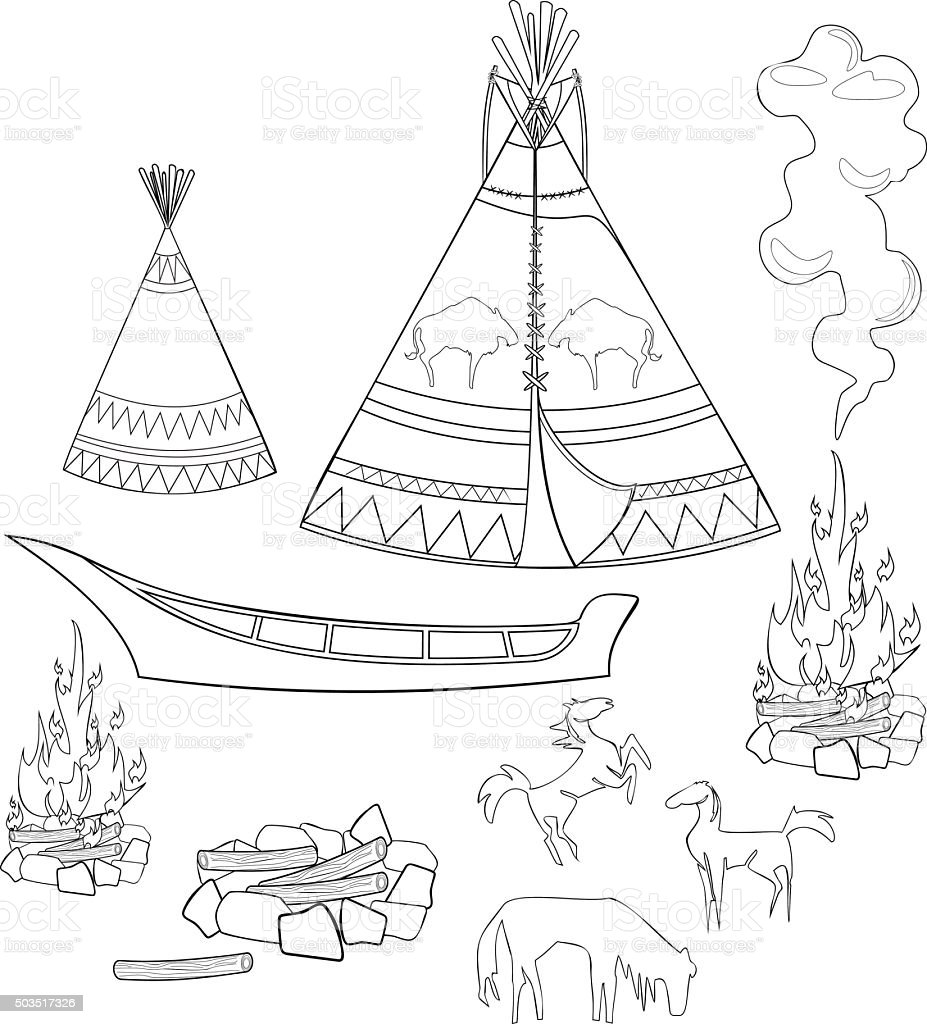 Coloring native american set vector art illustration
