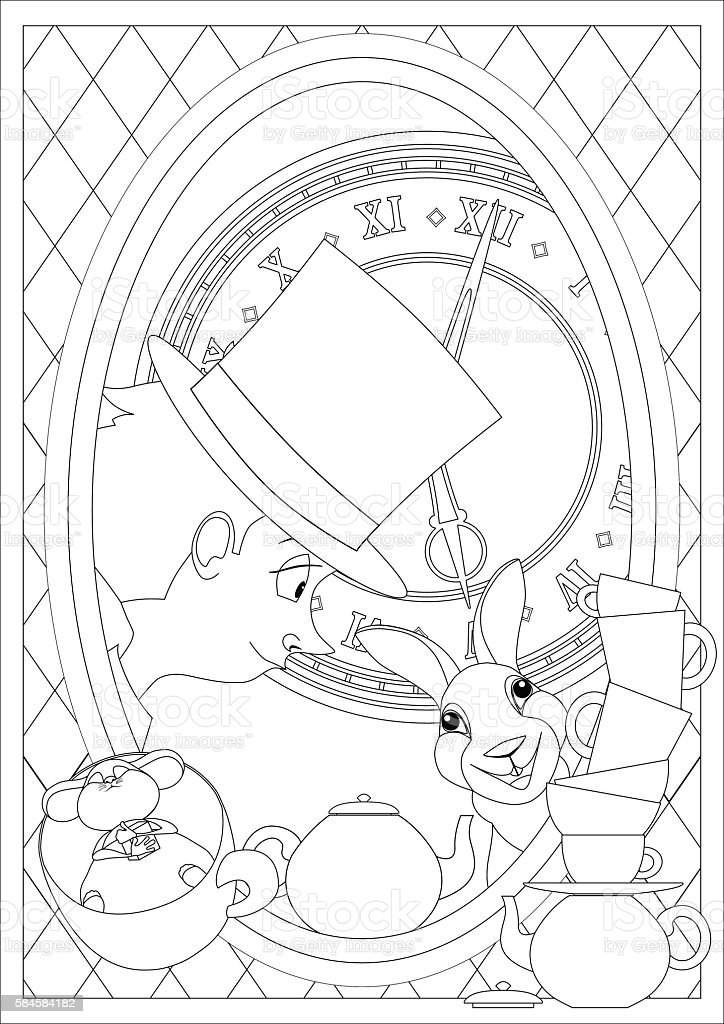 Coloring Page Alice In Wonderland Mad Tea Party stock vector art