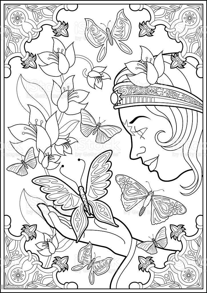 Coloring Page Butterflies And Fairy Princess vector art illustration