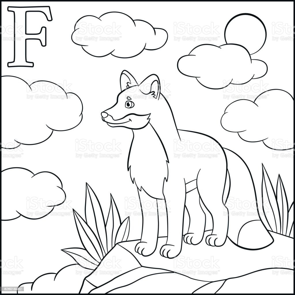 coloring page cartoon animals alphabet f is for fox stock vector