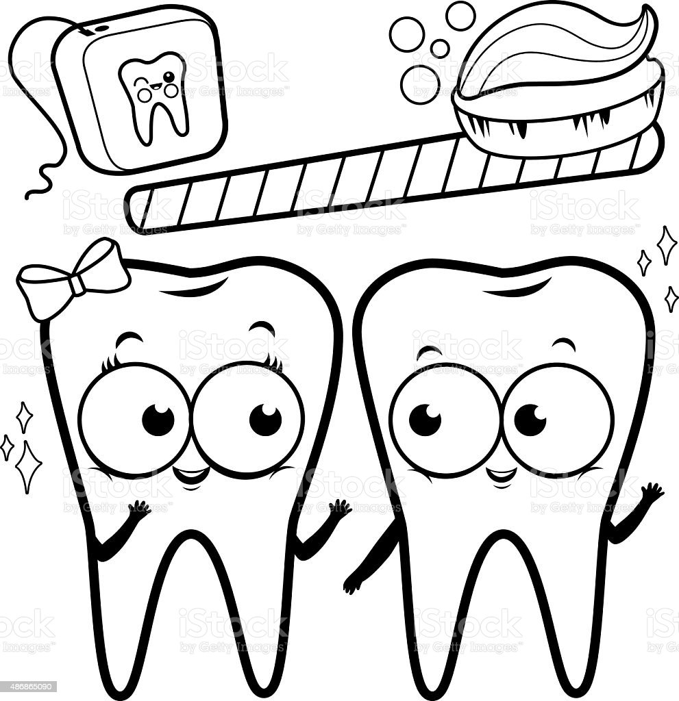 Coloring Page Cartoon Teeth With Toothbrush And Dental Floss stock ...