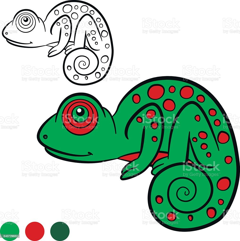 Coloring Page Color Me Chameleon Little Cute Green Chameleon stock ...