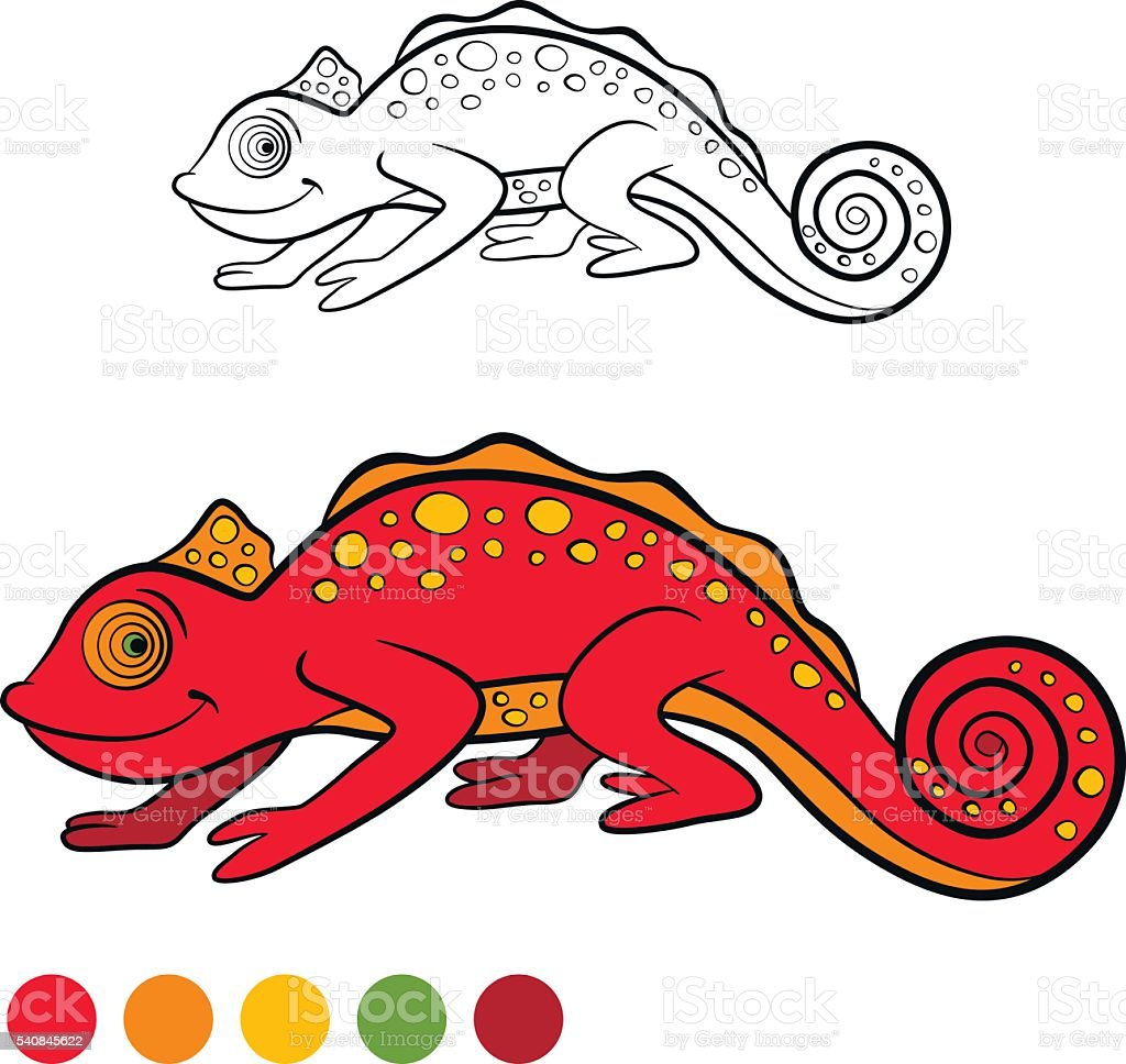 coloring page color me chameleon little cute red chameleon stock
