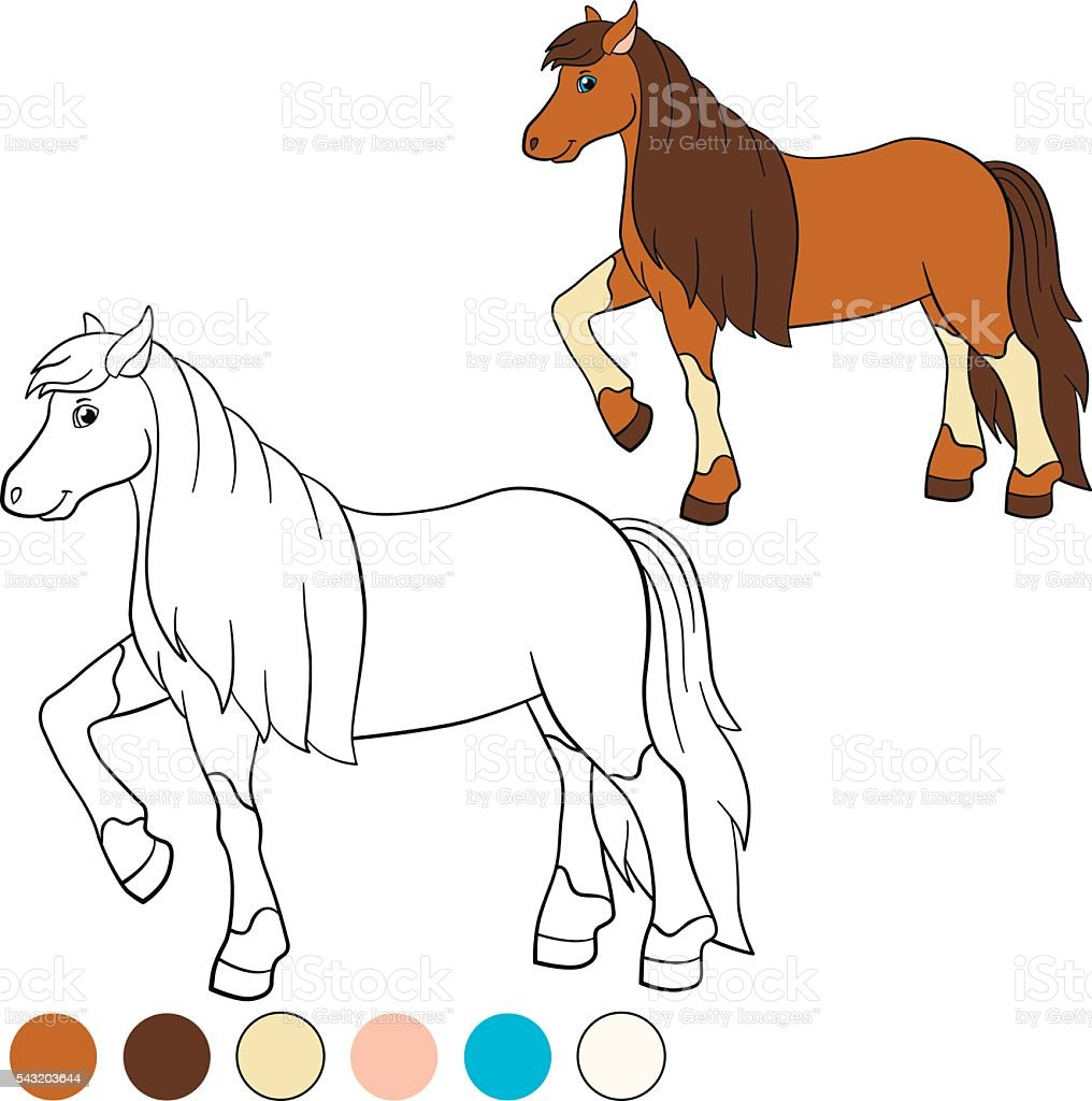 coloring page color me horse cute horse stock vector art 543203644