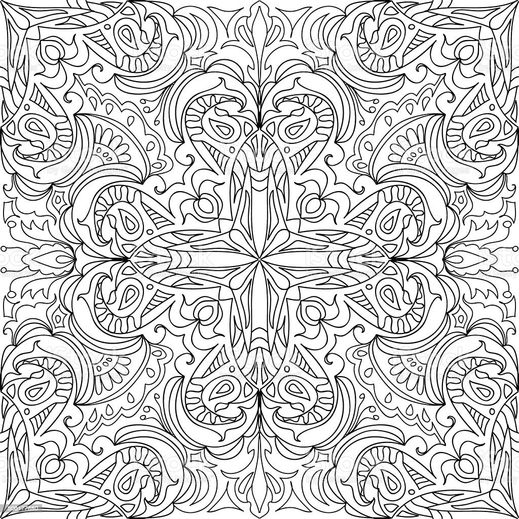 coloring page damask cross royal seamless pattern stock vector art