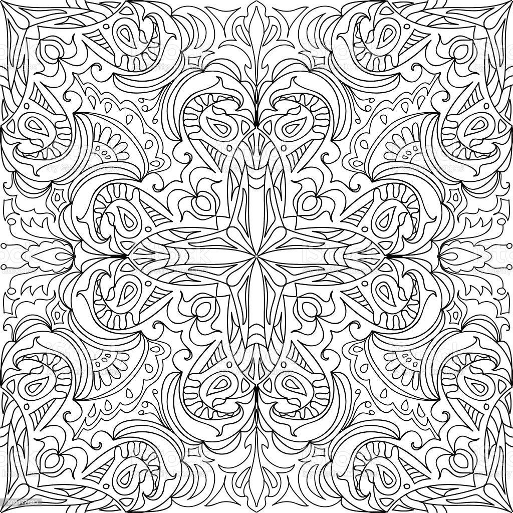 Coloring page Damask cross royal seamless pattern vector art illustration