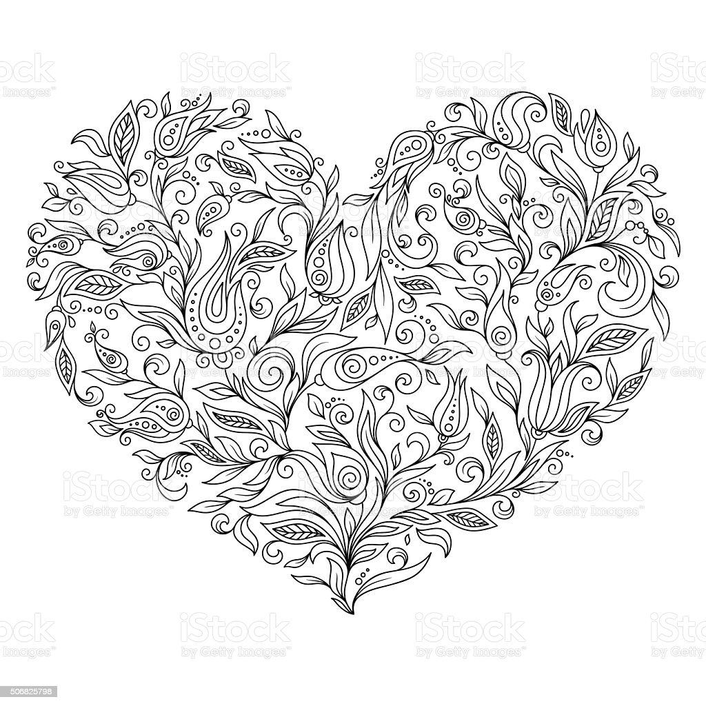 coloring page flower heart st valentines day stock vector art