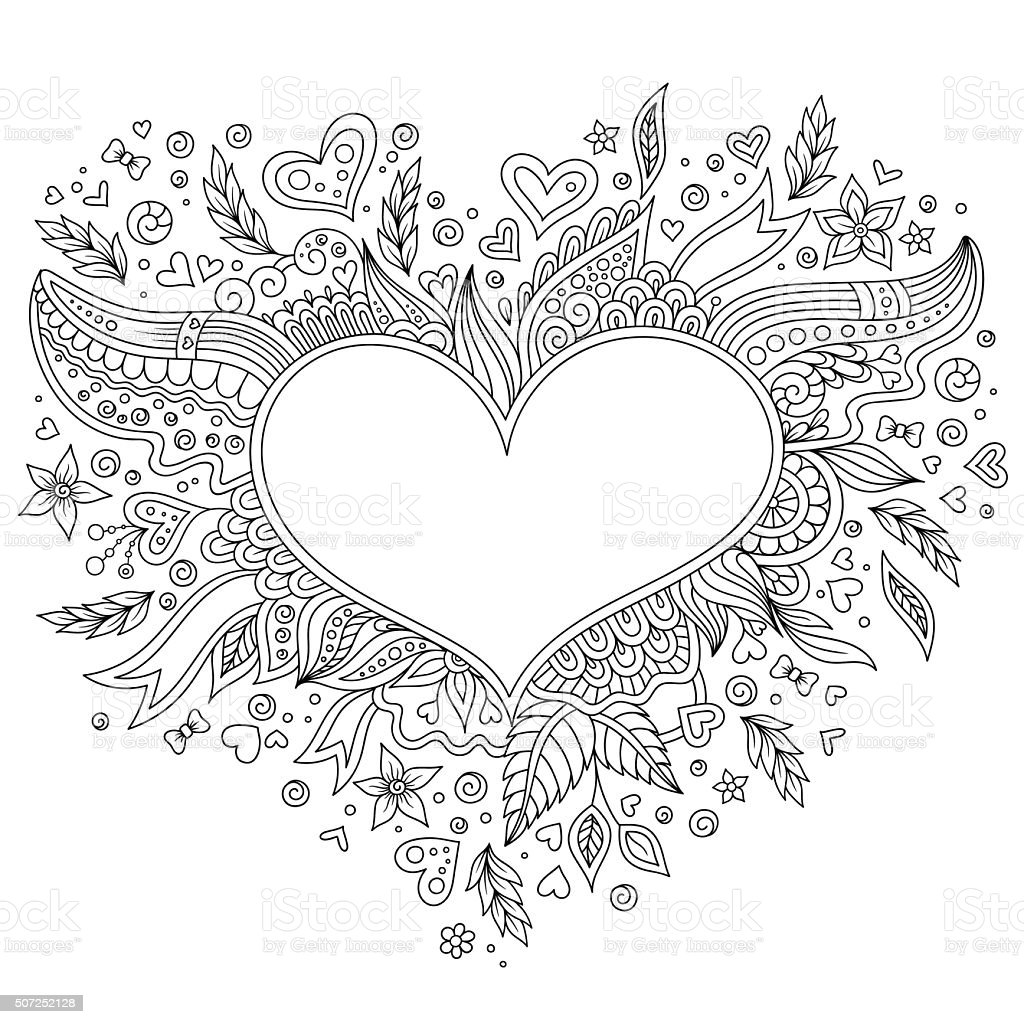 Coloring page flower heart St Valentine's day vector art illustration