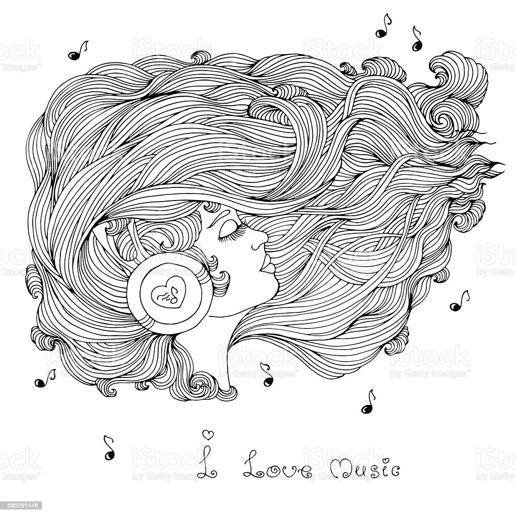 coloring page with wavy hair listening music in headphones