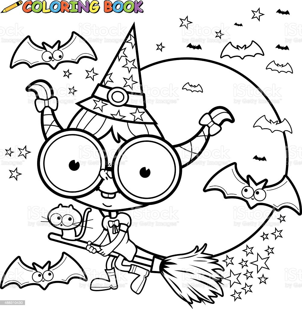 coloring page halloween witch flying with broom stock vector art