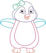 Coloring Page Illustration Of Cartoon Penguin