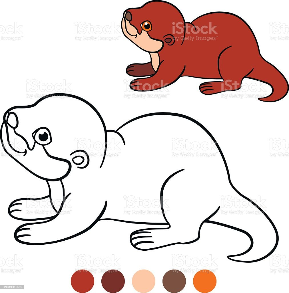 coloring page little cute baby otter smiles stock vector art