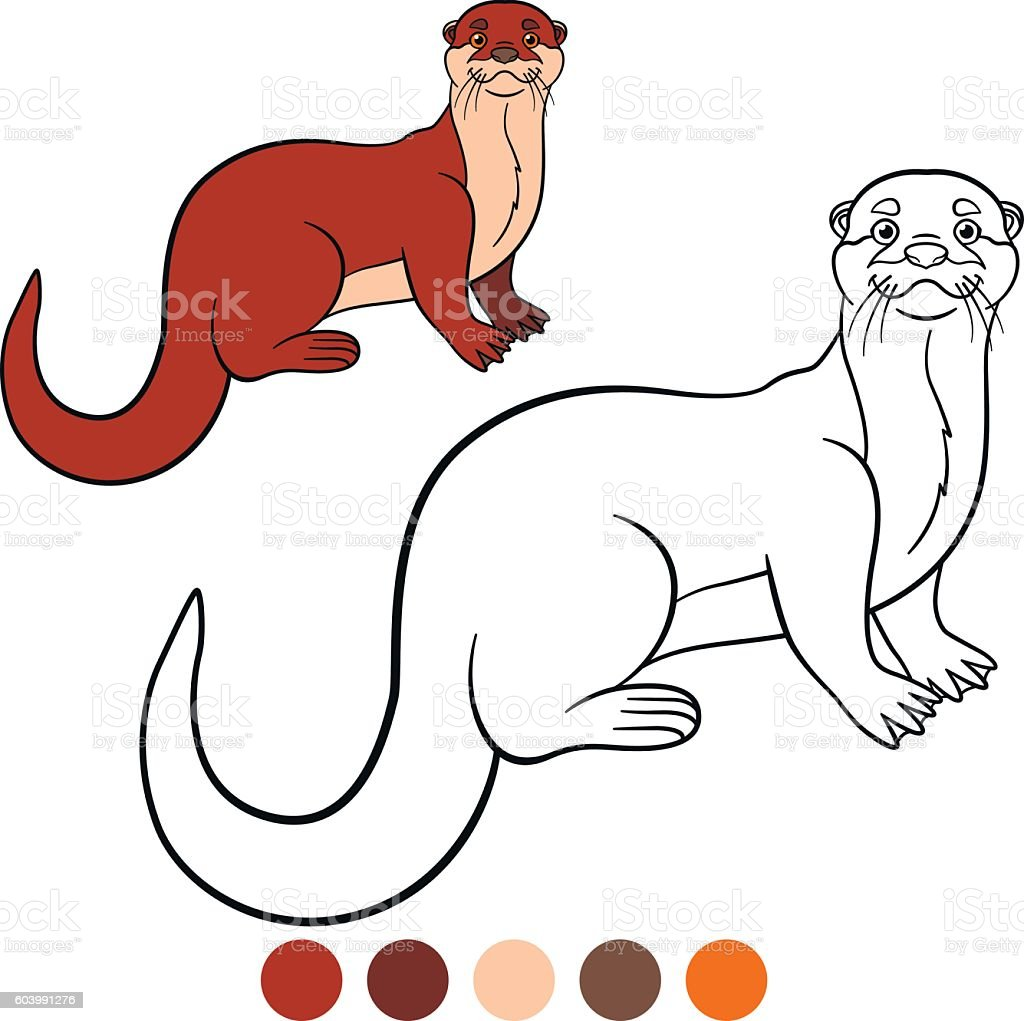 Coloring page. Little cute otter smiles. vector art illustration