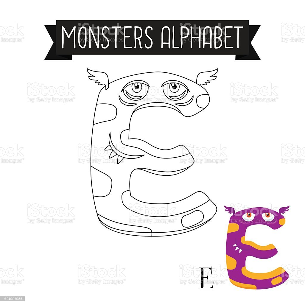 coloring page monsters alphabet letter e stock vector art