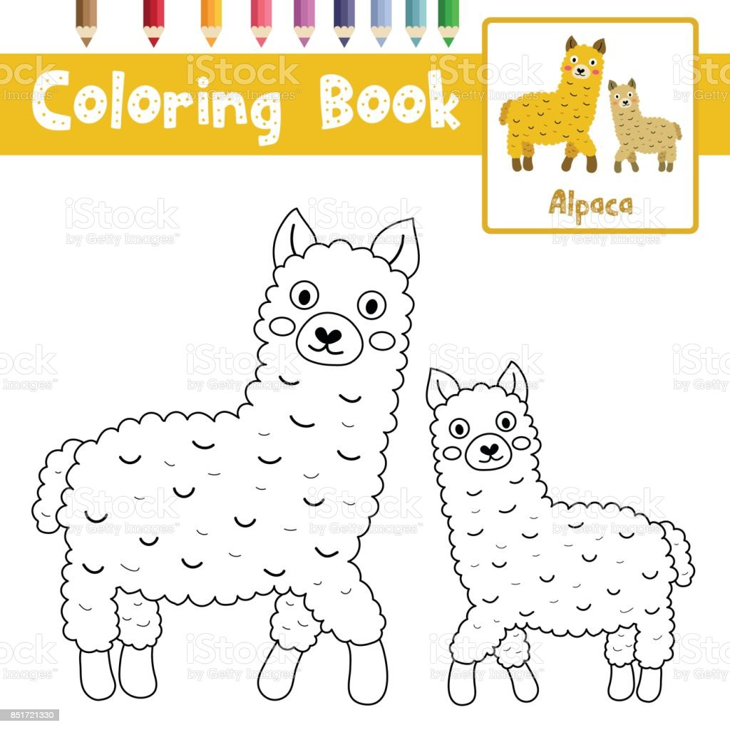 coloring page mother and child alpacas vector illustration stock