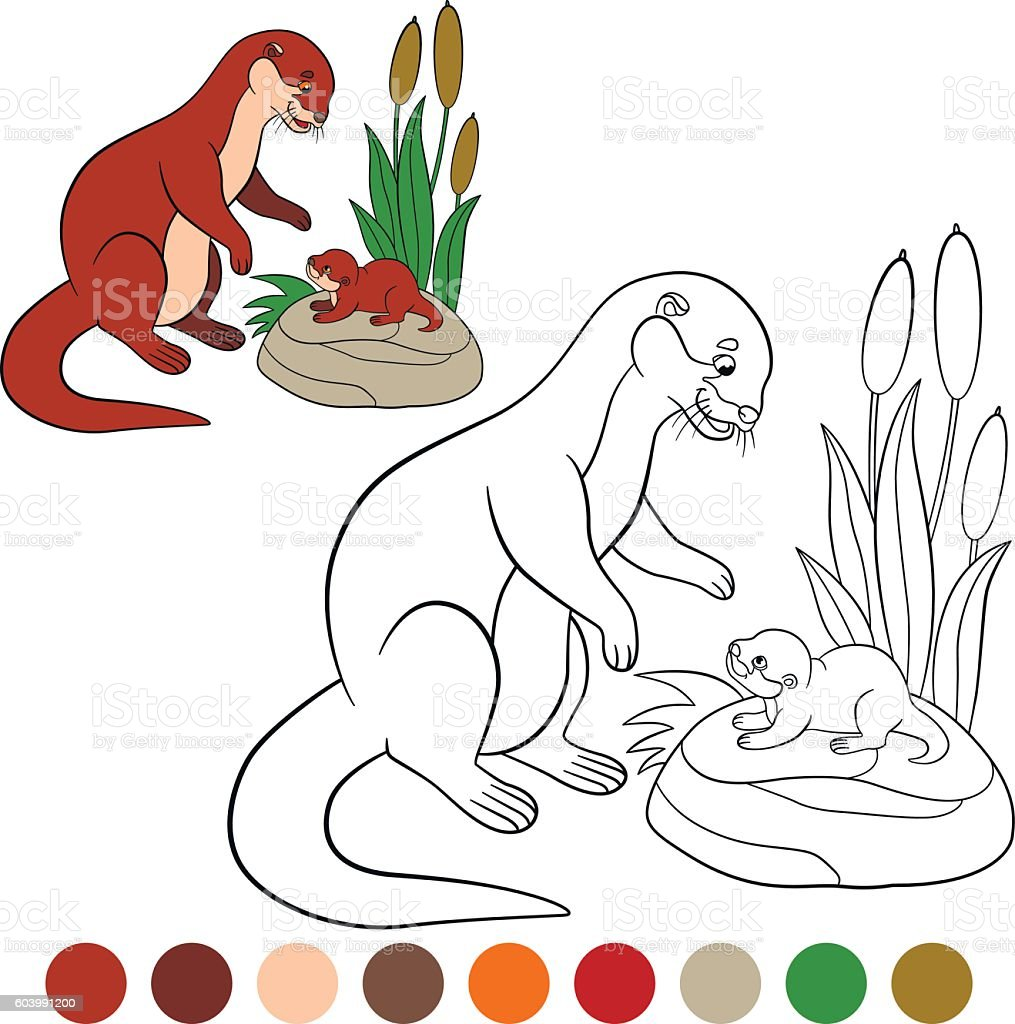 Coloring page. Mother otter looks at her little cute baby. vector art illustration
