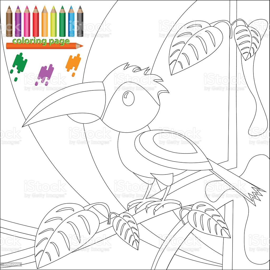 Coloring page of bird on the tree for children vector art illustration