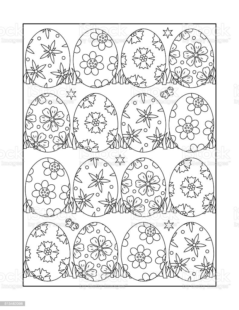 Coloring page, or black and white Easter ornamental background vector art illustration