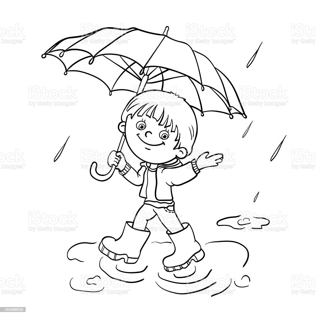 coloring page outline of a boy walking in the rain stock vector