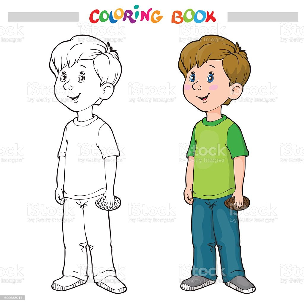 Coloring Page Outline Of A Cartoon Boy Royalty Free Stock Vector Art