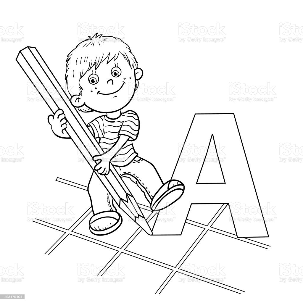 coloring page outline of a cartoon drawing boy stock vector art