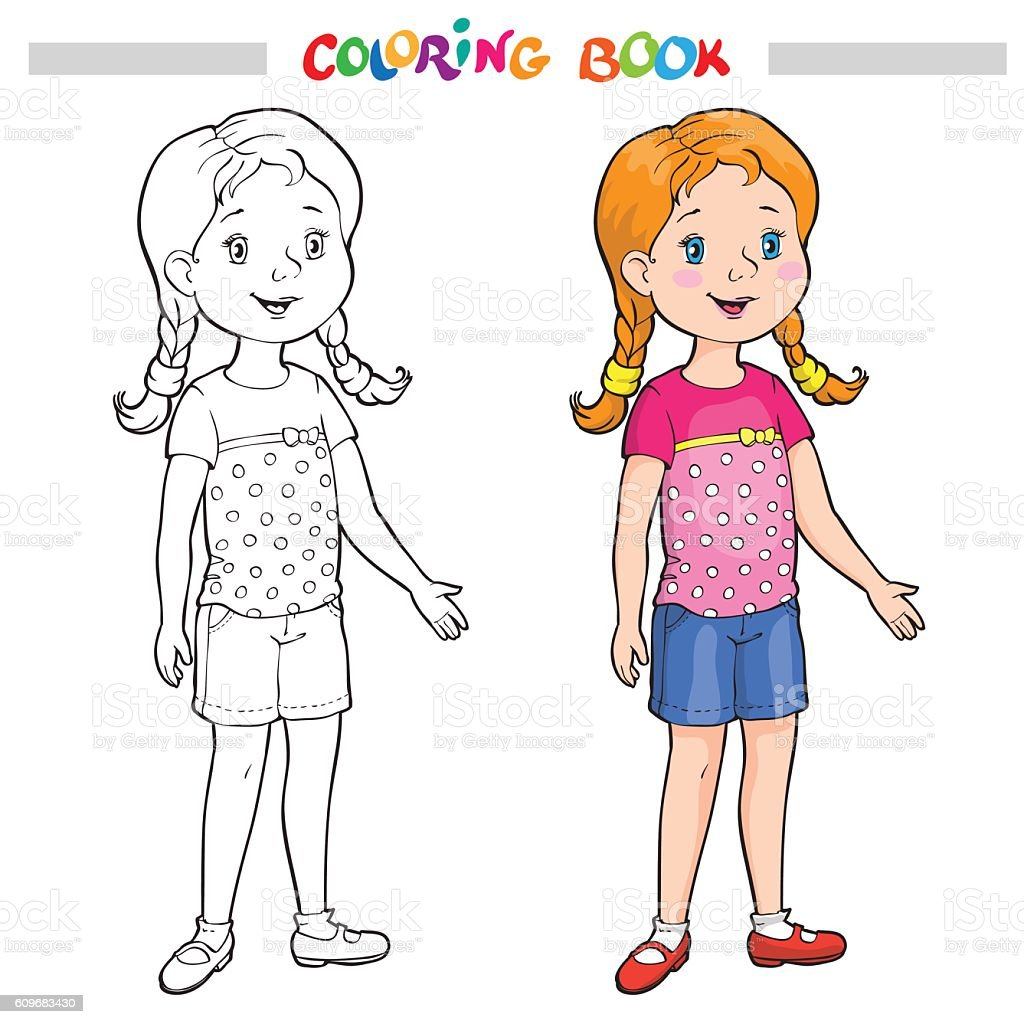 Coloring Page Outline Of A Cartoon Girl stock vector art 609683430
