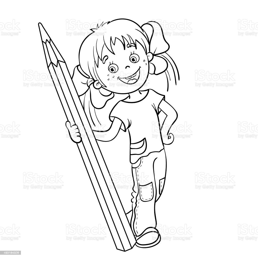 coloring page outline of a cartoon with pencil stock vector