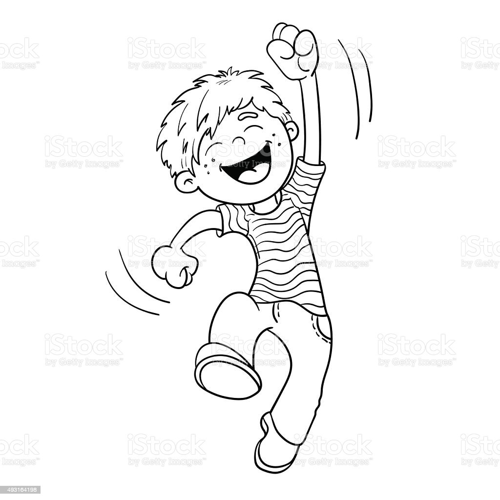 Coloring Page Outline Of A Cartoon Jumping Boy Stock Coloring Pages Vector