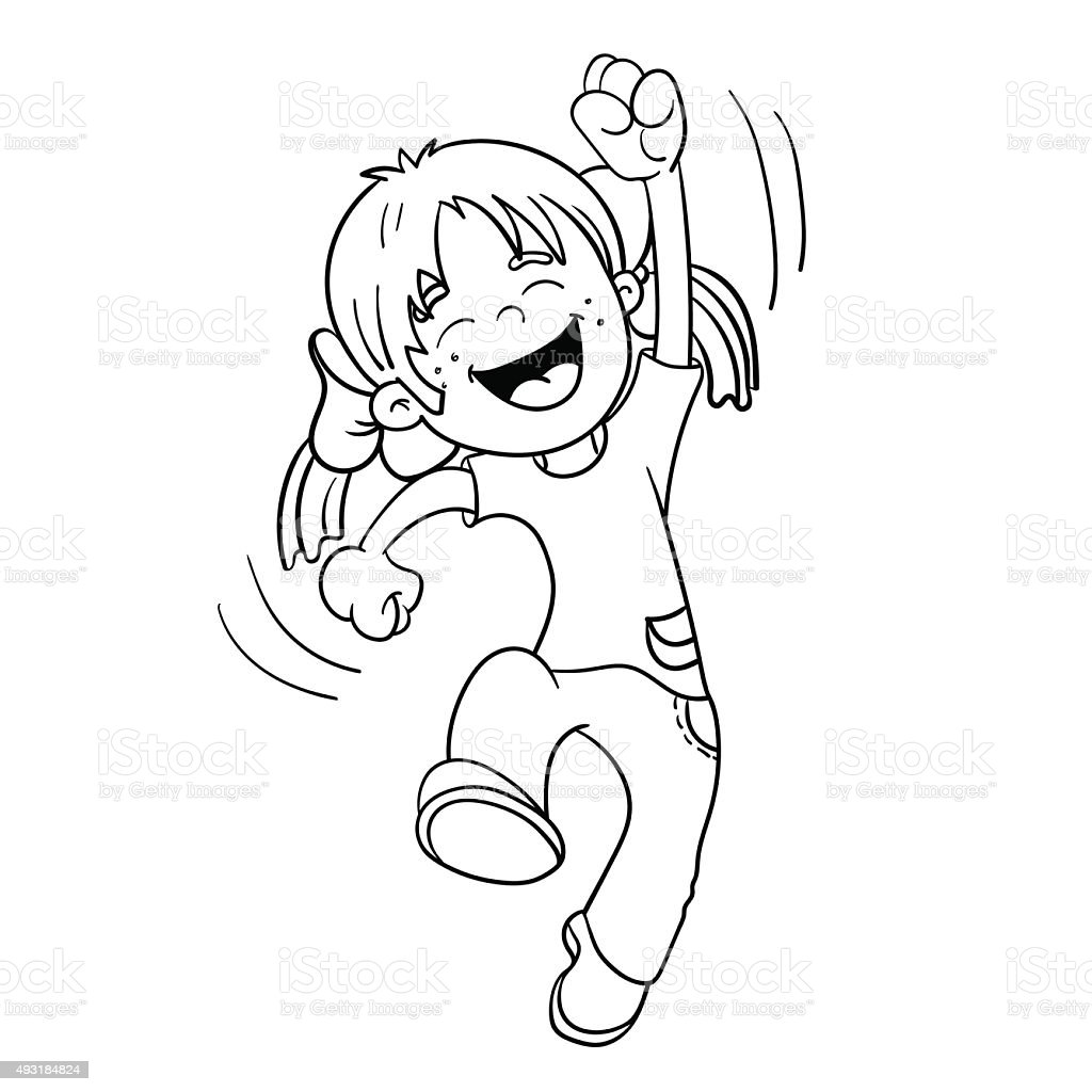 Coloring Page Outline Of A Cartoon Jumping Girl stock vector art
