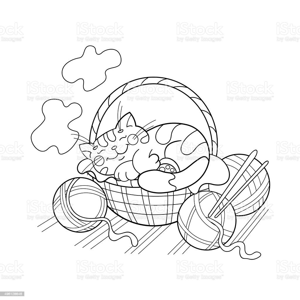 coloring page outline of a cat sleeping in a basket stock vector