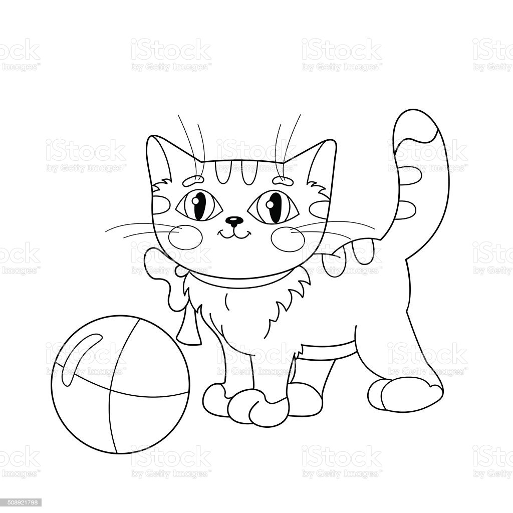 coloring page outline of a fluffy kitten playing with ball stock