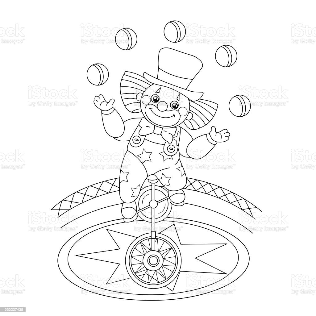 coloring page outline of a funny clown juggling balls royalty free stock vector art