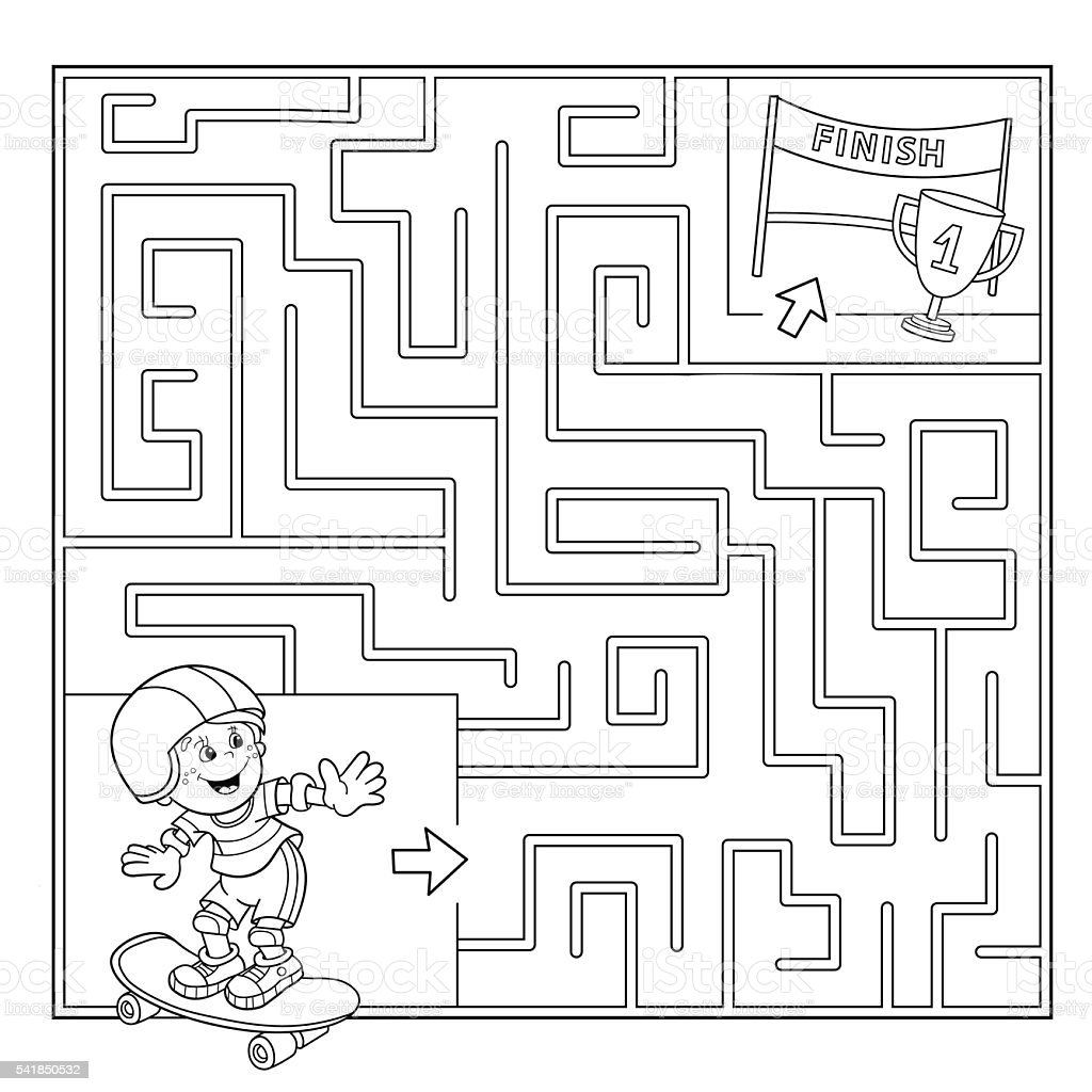 Coloring Page Outline Of Boy on the skateboard.Labyrinth vector art illustration
