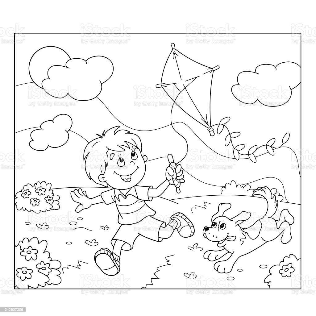 coloring page outline of boy running with kite with dog stock