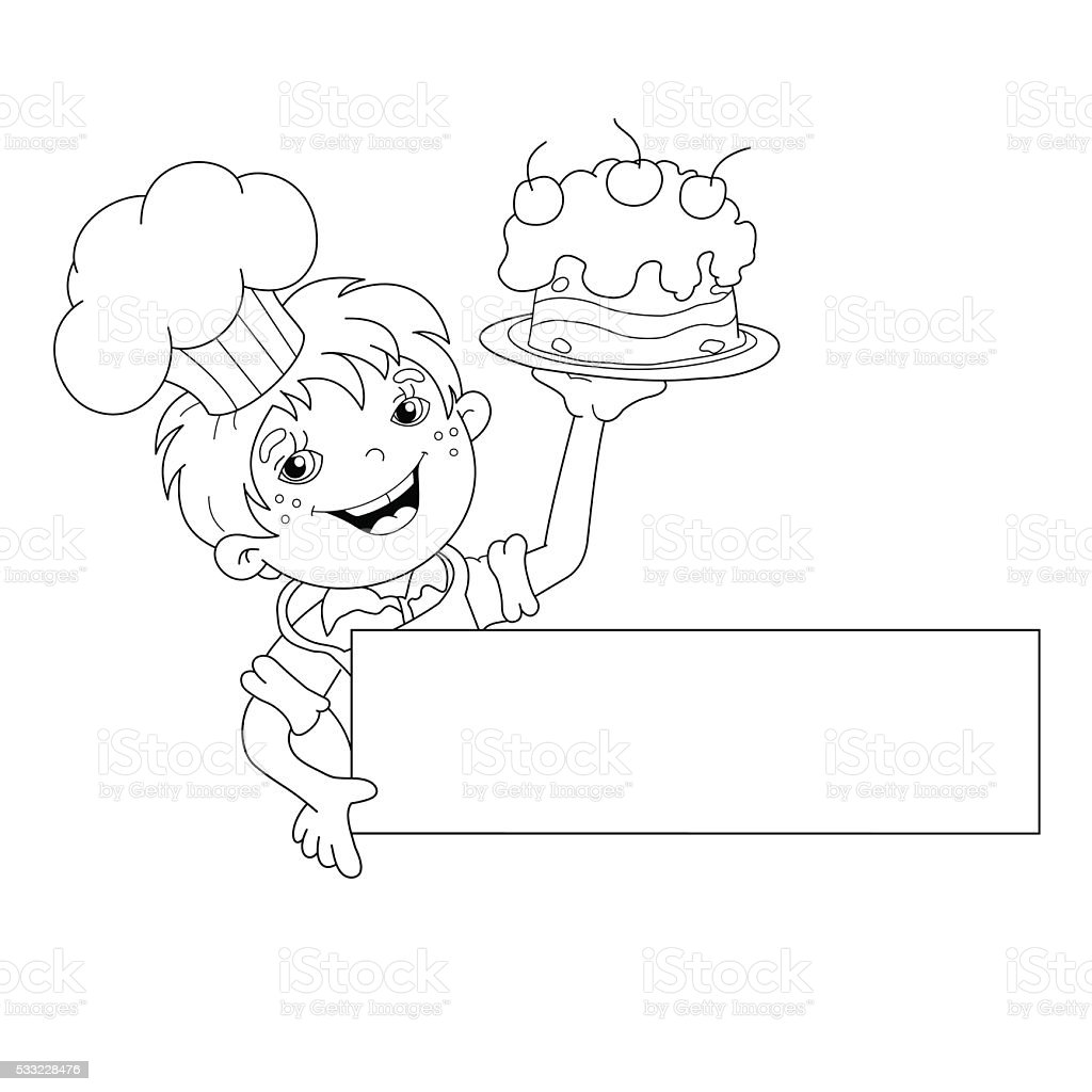 Coloring pages for restaurants - Coloring Page Outline Of Cartoon Boy Chef With Cake Menu Stock