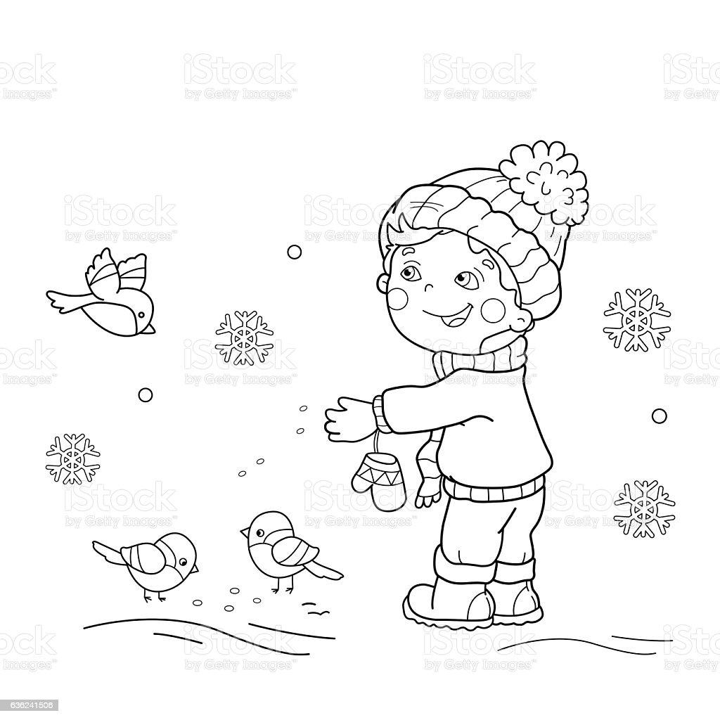 coloring page outline of cartoon boy feeding birds stock vector