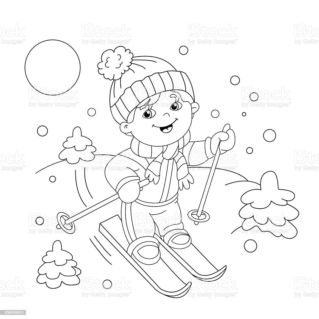 coloring page outline of cartoon boy riding on skis stock vector