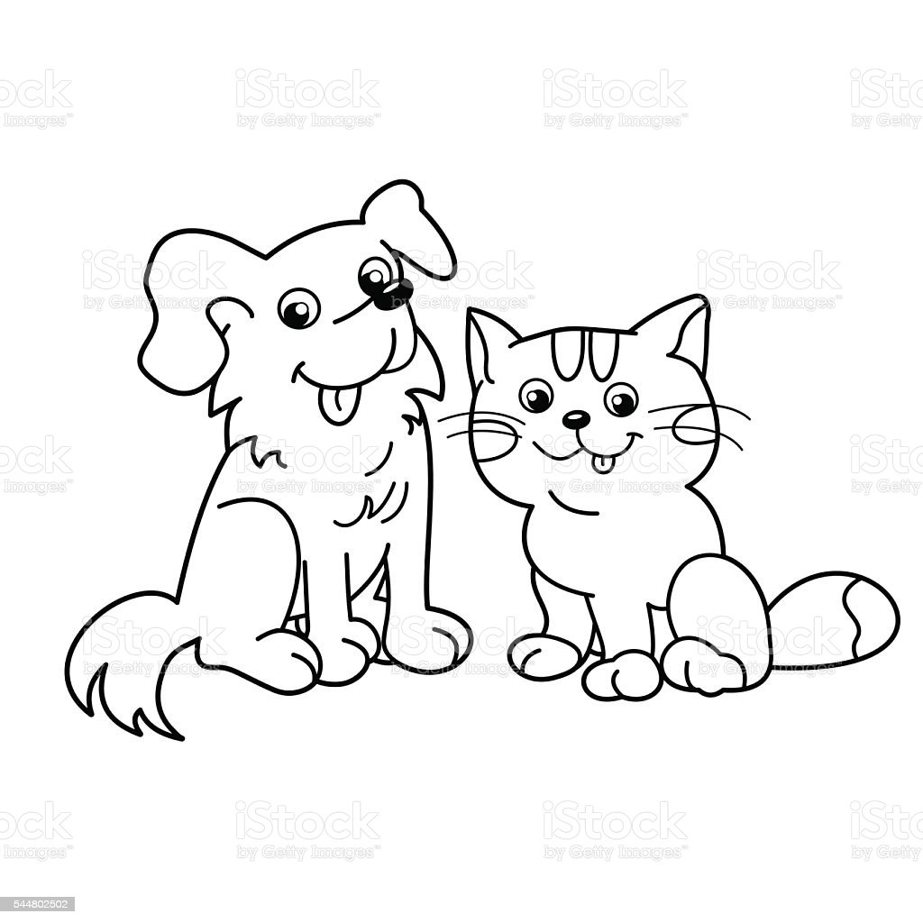 coloring page outline of cartoon cat with dog pets stock vector