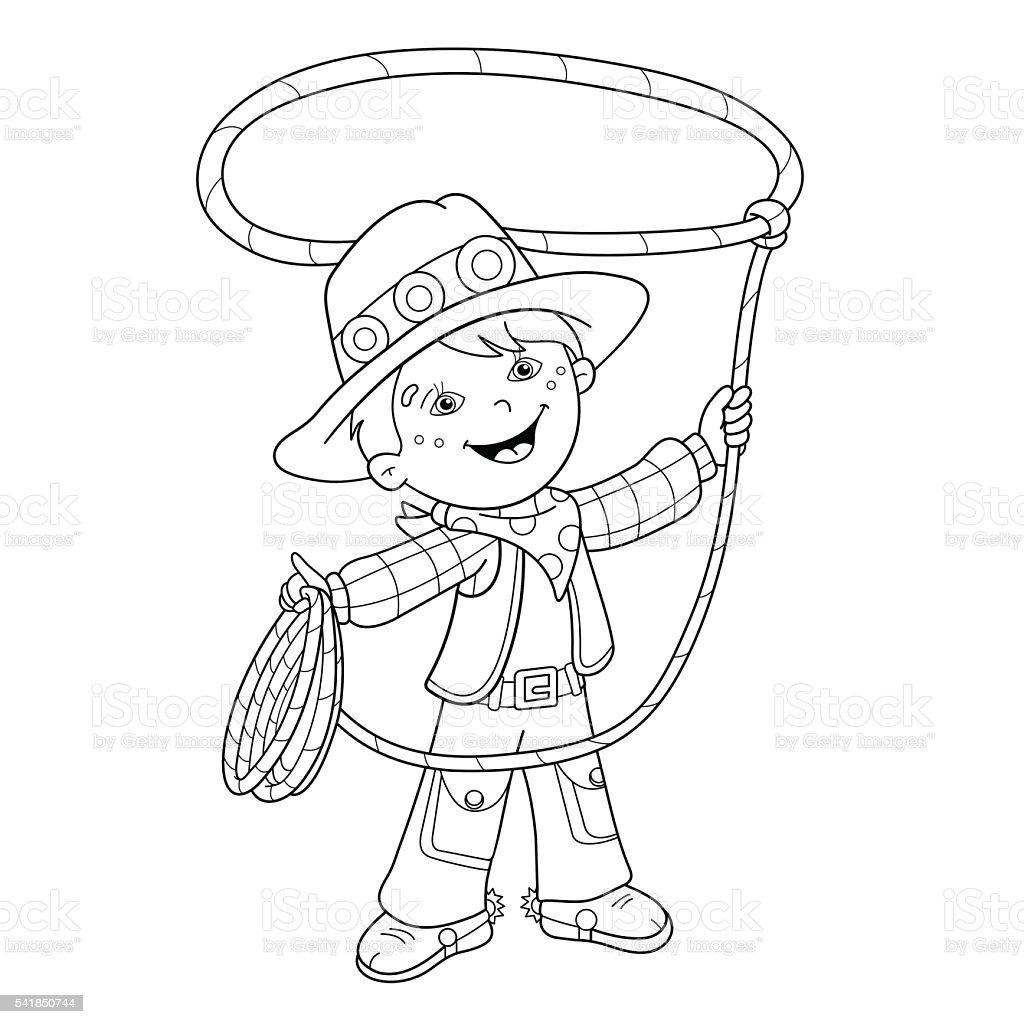Contour de page de coloriage de dessin de cowboy avec - Dessin de cowboy ...