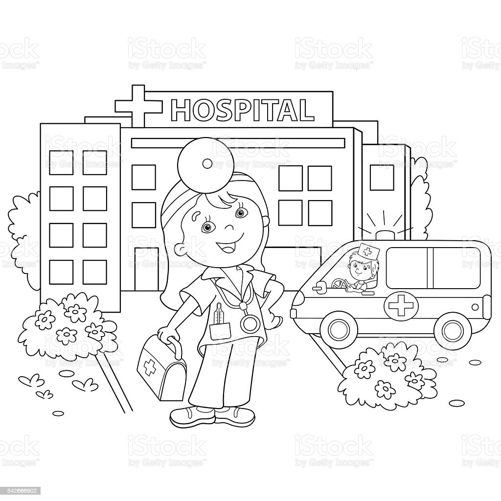 coloring page outline of cartoon doctor near the hospital stock